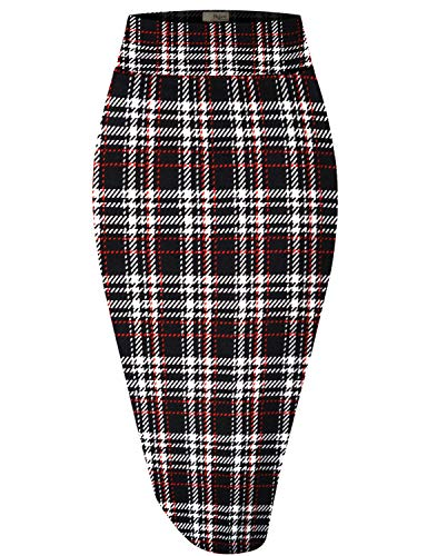 Hybrid & Company Womens Pencil Skirt for Office Wear KSK43584 10917 RED/Black XL