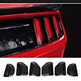 QHCP Acrylic 6Pcs Car Rear Tail Light Lamp Cover Smoked Black Protector Sticker Fit for Ford Mustang 2015 2016 2017
