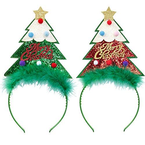2 x Haarreif * GLITTER WEIHNACHTSBAUM * grün und rot als Verkleidung für Weihnachten und Mottoparty // tolle Verkleidung für eine lustige Motto-Party // Weihnachten Glitzer Kostüm Weihnachtsbaum