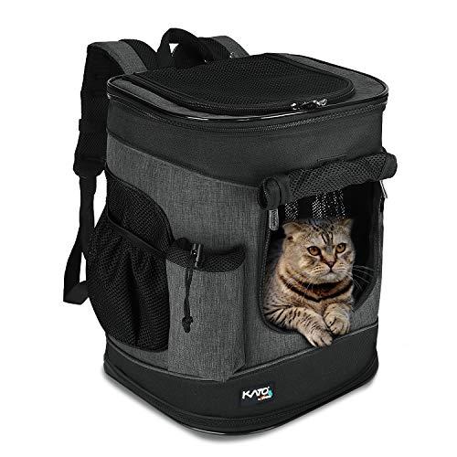 Kato Tirrinia Hund Träger Rucksack, Haustier Tragetasche mit Mesh für mittelgroße Hunde Katzen, 1.5lbs Welpen Rucksack Träger tragbare Reisetasche zum Wandern, Wandern, Reisen im Freien, Holzkohle