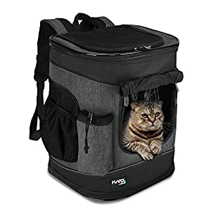 Tirrinia Large Pet Backpack Carrier for Small Cats & Dogs | Two-Sided Entry Airline-Approved, Padded Back Support Travel Carriers for Hiking, Walking, Cycling & Outdoor