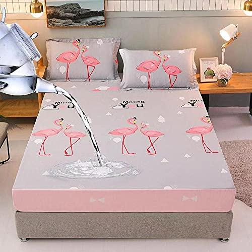 HPPSLT Protector de colchón con borde tensor, también adecuado para camas con somier y camas de agua, sábana impermeable con impresión de algodón, 22 x 100 x 200 cm
