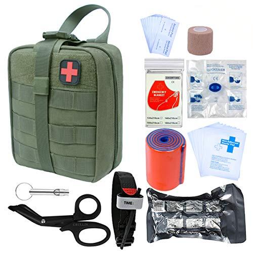 *GRULLIN Survival Erste-Hilfe-Sets 39 Stück Tragbare israelische Bandage Tourniquet Splint Rolle EMT-Schere Survival Bag, praktische professionelle Erste-Hilfe-Sets (Army Green)*