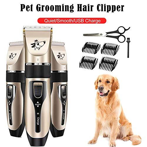 Pet Grooming Clippers Low Noise Dog Shaver Clippers, USB oplaadbaar haarscheerapparaat met 4 tondeuses, reinigingsborstel voor kleine middelgrote honden, katten