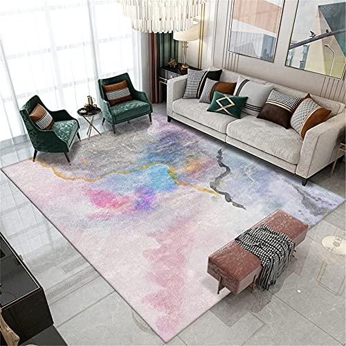 La Alfombra Alfombra Infantil niño Alfombra Moderna de Estilo de Pintura al óleo de Arte de Tinta Gris Azul Rosa alfombras Lavables Salon aspiradora Alfombra 100*200cm