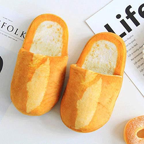 Damen Herren Warm Plüsch Winter Bequeme Hausschuhe, Imitation Brot Burger Toast Winterhaus Weiche rutschfeste Plüsch Warme Baumwollpantoffeln-Style One_36-39