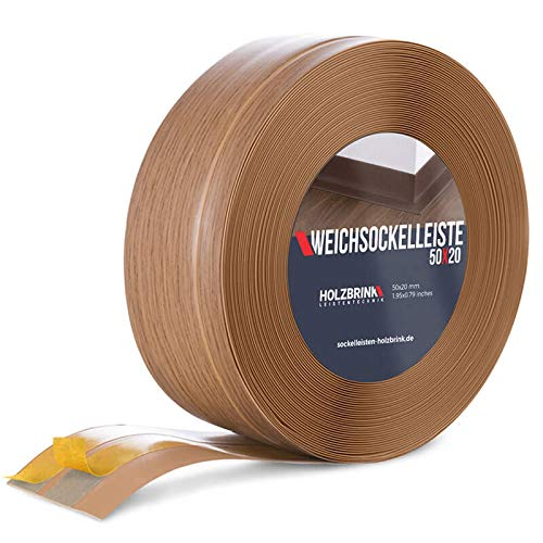 HOLZBRINK Rodapiés flexible autoadhesivo Roble Claro Rodapiés flexible 50x20 mm, 5 m Zócalo Autoadhesivo