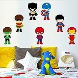 EyingEr Super-Héros 7 Pcs Couleur Mur Art Autocollants Pour Chambres D'Enfants Super Héros Comic Batman Chambre Amovible Adhésif Papier Peint Décor À La Maison