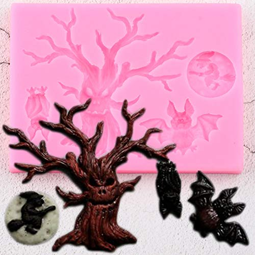 TAOYUE 3D Halloween Silicone Molds Tree Bat Owl Fondant Mold DIY Party Cake Decorating Tools CandyClay Chocolate Gumpaste Moulds