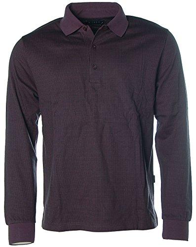 Kitaro Herren Langarm Shirt Poloshirt Polokragen Pima Cotton Karo Pflaume2 L