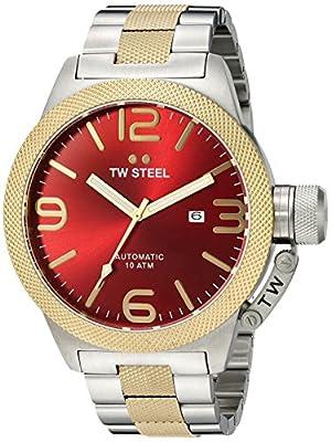 TW Steel Canteen Unisex reloj de cuarzo con rojo esfera analógica y plata pulsera de acero inoxidable