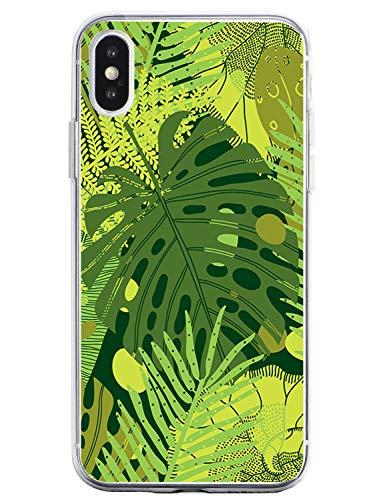 Oihxse Mode Transparent Silicone Case Compatible pour iPhone SE 2020/iPhone 7/iPhone 8 Coque, Ultra Mince Souple TPU Mignon Animal Série Protection de Housse Anti-Scrach Bumper Etui -Feuilles