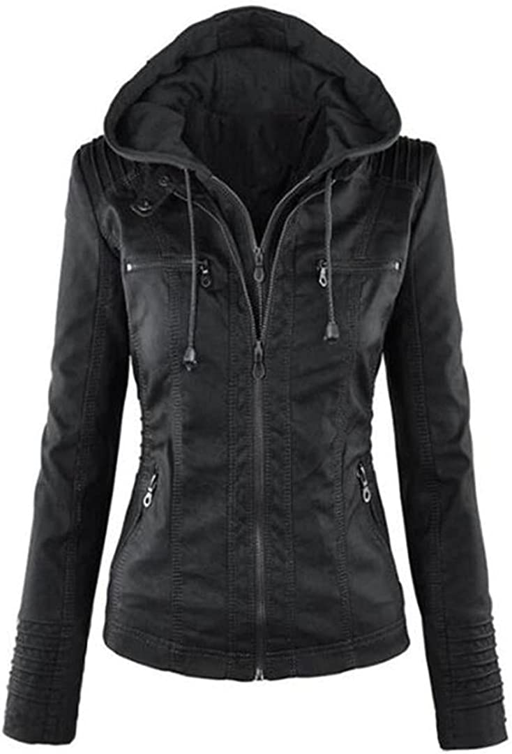 Pokem&Hent Autumn and Winter Women's Leather Jacket with Zipper Motorcycle Leather Jacket Short PU Jacket