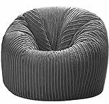 Jumbo Cord Beanbag Chair Grey, Large Bean Bags in Plush grey Jumbo Cord, Great as Beanbag Lounger, Jumbo Cord Beanbags Recliner (GREY)