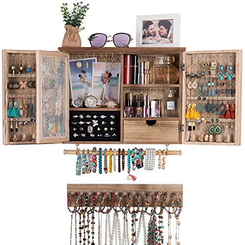 Wall Mounted Jewelry Organizer, Rustic Hanging Jewelry Organizer Wooden Jewelry Holder for Necklaces, Earrings, Bracelets, Rings and Accessories with Removable Bracelet Rod,hooks, (Wood Color)