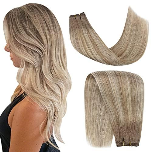 YoungSee Balayage Haartressen Echthaar Remy Extensions Blond mit Mittelbraun Ombre Echthaar Tressen zum Einnahen Glatt Dickes Haare 100g/Bundle 45 cm