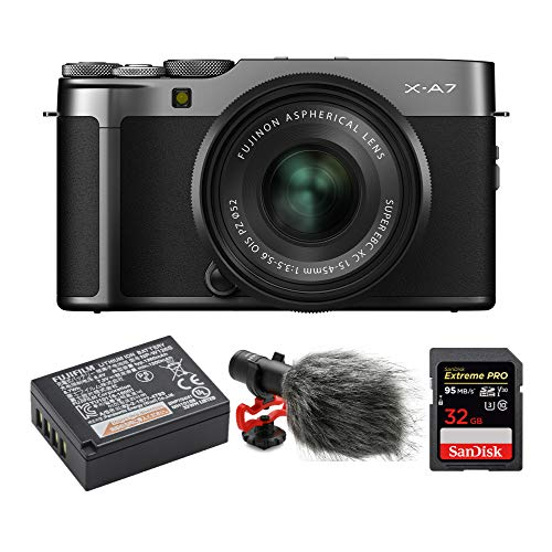 Find Discount Fujifilm X-A7 Mirrorless Camera with 15-45mm f/3.5-5.6 Lens (Dark Silver) Video Blog B...