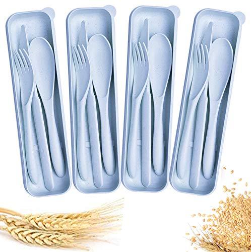Juego de 4 cubiertos de paja de trigo, camping o simplemente...