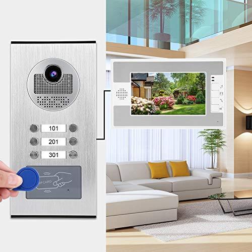 Ichiias Robusto y Duradero 3 monitores Timbre de Puerta Video Timbre Cafetería para(European Standard (100-240v))