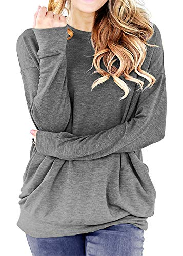 lymanchi Women Casual Solid T-Shirt Pockets Long Sleeve Round Neck Tunic Tops Gray XL