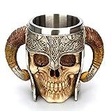 Kouta Viking Drinking Beer Mug, Stainless Steel Medieval Skull Mug, Ram Horned Pit Lord Warrior Beer Stein Tankard for Coffee Tea Beer Ba Dining Table Drinking Gift- 540 ML -18 oz