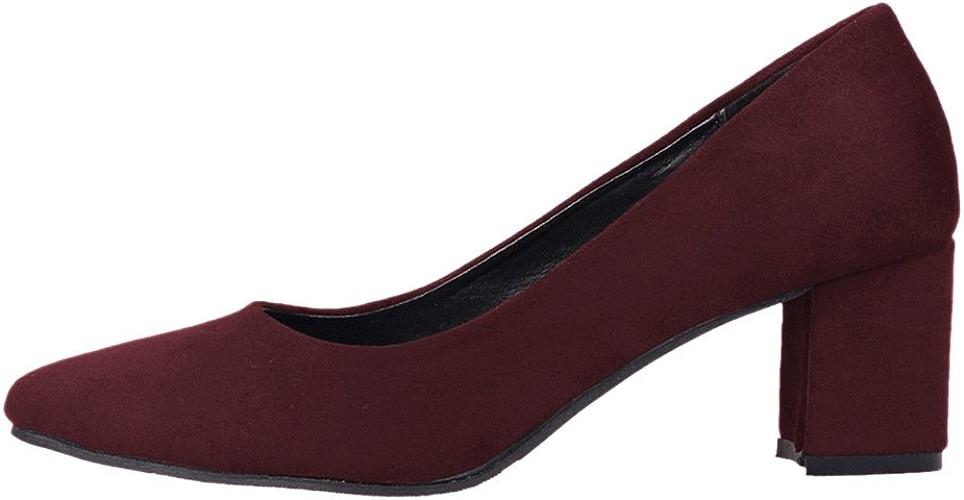 DYF Chaussures femmes nue, forte de couleur solide Talon moyen brut grande taille rouge vin,Loisirs,43