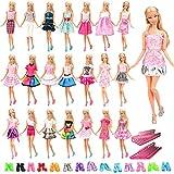Miunana 60 PCS Accessoires Vêtements de la Poupée 20 Jolies Robes +20 Chaussures Variées + 20 Cintres pour Poupée Fille de 11.5inch