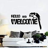 jiushivr Oiseau Perroquet Bonjour Et Bienvenue Stickers Muraux Home Decor Salon...