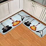 XWJZXS 2 Piezas Alfombrilla de Cocina Antideslizante,Alfombra de Cocina Acolchada con Guitarra de Concierto de música Rock,Lavable Alfombra de Baño Alfombrillas Cocina