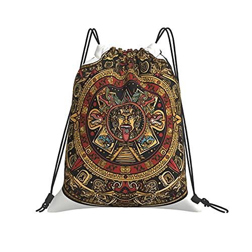 QUEMIN Klassische Kordelzugtasche Aztec Sun Stone Turnsack Tasche Kordelzug Rucksack Polyester Sporttasche für Männer & Frauen