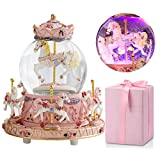 LOVE FOR YOU Carousel Horse Music Box Snow Globes,Best Birthday Gift for Kids Girls, Color Change LED Light Luminous Unicorn Music Boxes Home Decor Ornament (Plays You are My Sunshine,Pink)