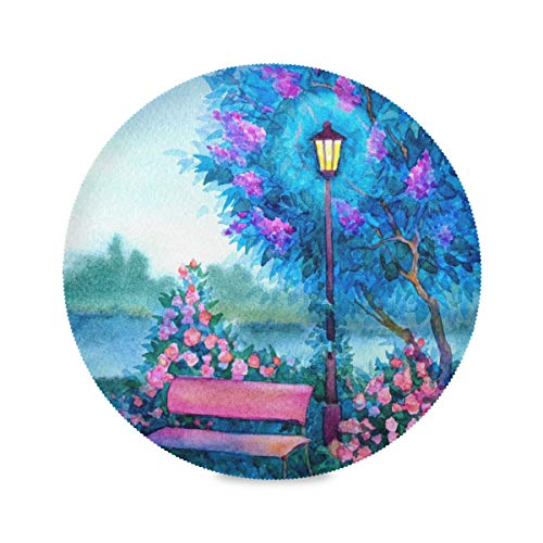 ATONO Romantic Landscape Glowing Lantern Near The Bench Twilight of Spring Flowering Park Round Placemat Kitchen Table Plate Lunching Mats [4 PCS 15.4X15.4 Inch] Non-Slip for Party Weding Dining