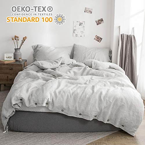 Simple&Opulence 100% Linen Duvet Cover Set Coconut Buttons Stone Washed 3pcs Bedding Set (King, Grey)