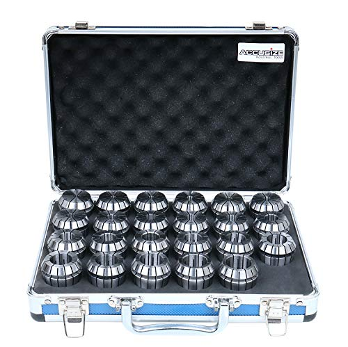 Accusize Industrial Tools 4 mm to 26 mm by 1 mm ER-40 Collet Set, 23 Pcs/Set in Fitted Strong Aluminium Box, 3350-0586