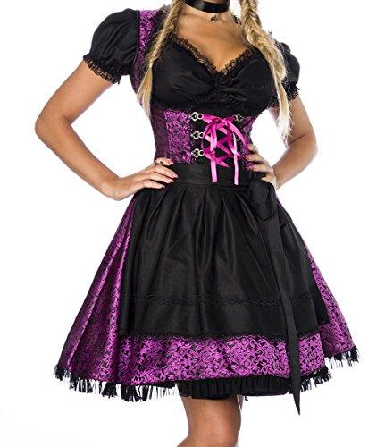 Yourdesignerz Dirndl jurk kostuum met blouse en schort van jacquard stof en kant Oktoberfest Dirndl lila/zwart