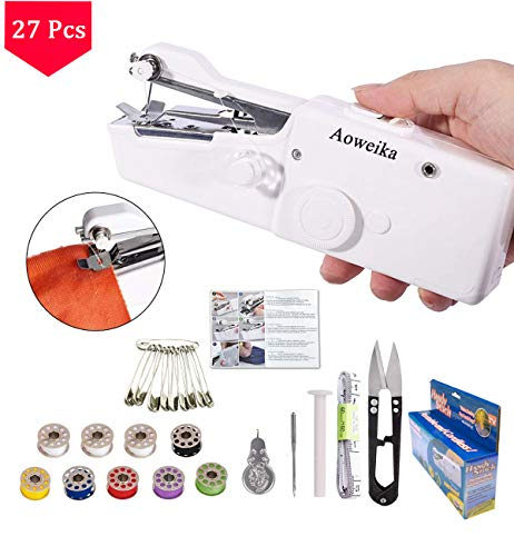 Aoweika Handnähmaschine Mini Handheld Nähmaschine Tragbar Elektrische Handnähmaschine Schneller Handlicher Stich für Stoff Kleidung Kindertuch(26 Stck)