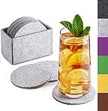 Sidorenko Filz Untersetzer rund für Gläser - 10er Set Ink. Box - Design Glasuntersetzer in hellgrau für Getränke, Tassen, Bar, Glas - Premium Tischuntersetzer Filzuntersetzer