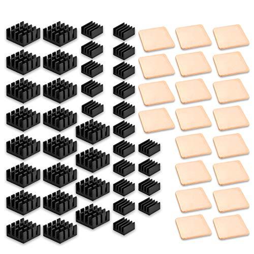 ANDERK 60 piezas Disipador de calor de la frambuesa pi Aluminio + Calzas de cobre + 3M Cinta adhesiva conductora térmica para enfriador de refrigeración Raspberry Pi 3 B +, Pi 3 B, Pi 2, Pi Modelo B +