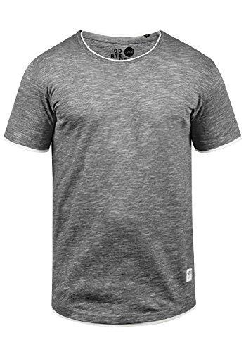 !Solid Rigos Herren T-Shirt Kurzarm Shirt Mit Rundhalsausschnitt Im Double-Layer-Look Aus 100% Baumwolle, Größe:L, Farbe:Black (9000)