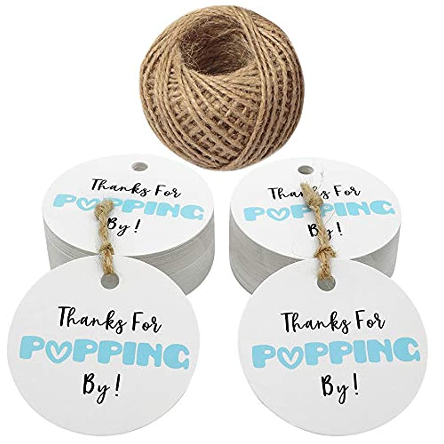 Original Design Baby Shower Tags,Thanks for Popping by Gift Tags,5cm Round Blue Tags,100PCS Paper Tags for Wedding Party Favors with 100 Feet Jute Twine