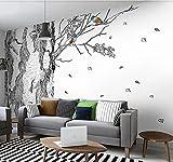 Papel Pintado Pared 3D Fotomurales Pájaro De Abedul Blanco Y Negro Mural Pared Pintado Papel Tapiz Salón Dormitorio Tv Fondo Decoración De Pared 250x175cm