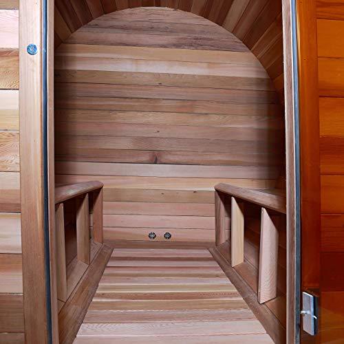 ALEKO SB4CEDAR Rustic Red Cedar Indoor Outdoor Wet Dry Barrel Sauna and Steam Room