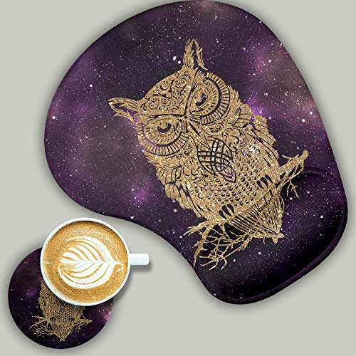 2 Pack Gaming Mouse Pad and Coaster, Ergonomic Mouse Pad with Wrist Support Gel, Non-Slip PU Base, Easy Typing Pain Relief Effect, Suitable for Office and Home (Starry Owl)