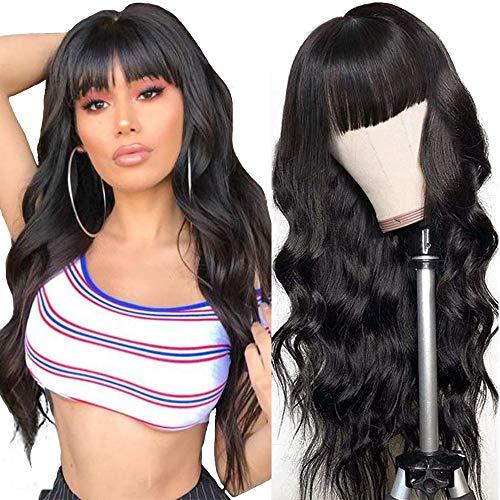 Parrucca con franges Parrucca umani naturale wavy lunghi lace front wig human hair wigs body wave capelli veri al 100% umani brasiliani vergini neri 18inch-45cm