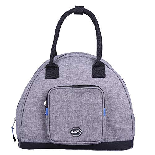 QHP Reithelmtasche mit Handgriffen Reißverschluss Zusatzfach (Grau)