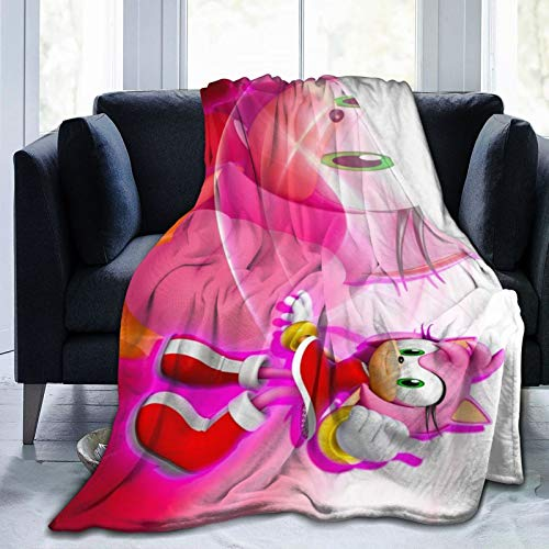 Super-Soft Flannel Sherpa Blanket Suitable for Winter Summer,So-nic The Hed-ge-hog-Amy Rose Anime 60'x50' Oversized Comfort Throw Bedding for Couch Sofa Bed
