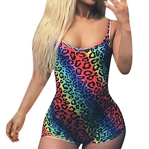 Sayla Jumpsuits Latzhosen Damen Sommer Lang Sexy Elegant äRmellos Steigung Leopard Suspender Sex LäSsig Bedruckter Kurzoverall Bodysuit Romper