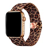 MIGZOE Compatible with Apple Watch Band 42mm 44mm for Women Girls, Adjustable Stainless Steel Mesh Sport Wristband for iWatch Series 6/5/4/3/2/1, SE (Brown Leopard)