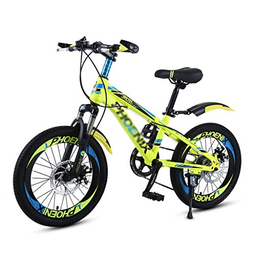 Review LONGLONG Boys 18 Inch Mountain Bike, Kids Mountain Bicycles 21-Speed Dual Disc Brakes for Student, Kids Sport Bicycles 6-10 Years (Color : Yellow+Black)