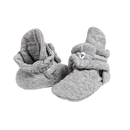 Burt's Bees Baby baby girls Booties, Organic Cotton Adjustable Infant Shoes Slipper Sock, Heather Grey Quilted, 0-3 Months US